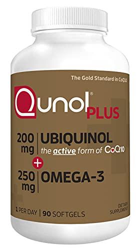 Qunol Plus Ubiquinol Coq10 200mg with Omega 3 250mg Extra Strength Antioxidant (Bovine Version), 90 Count