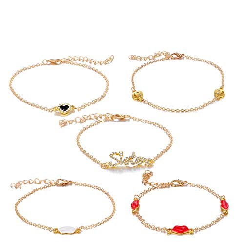 KUANGLANG 5Pcs/Sets Bohemian Colorful Crystal Stone Bracelets Women Sweet Sexy Lips Gold Chain Jewelry Accessories