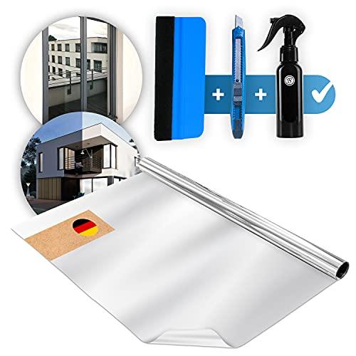 Weddeltaler ® Spiegelfolie Selbstklebend Sichtschutz ,inkl. GRATIS Guide - UV-Schutz Sonnenschutzfolie Fenster, Reflektierende Fensterfolie Wärmeisolierung , Sonnenschutz Folie (90x200cm)