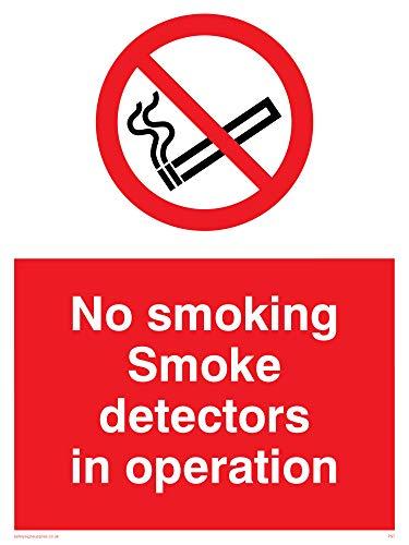 Viking Signs PS7-A3P-AC'No Smoking Smoke Detectors In Operation' Sign,...