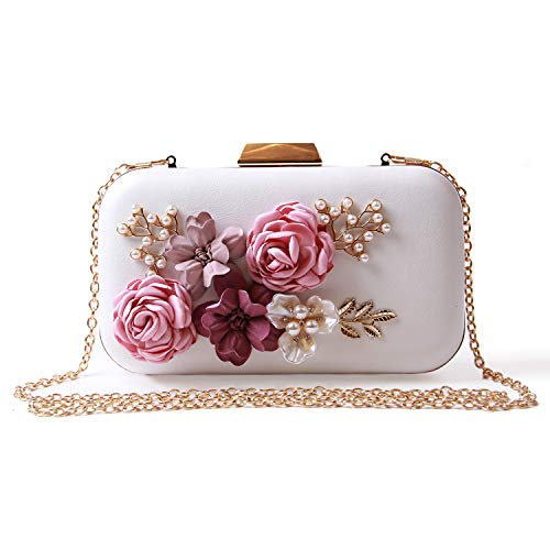 EVEOUT Blumenperle Perlen Hochzeit Handtasche für Bräute Damen Leder Box Case Abend Clutch Bag Prom Party Tasche für Frauen Kleine Umhängetasche im Retro Kettenbeutel Geldbörsen für Mädchen