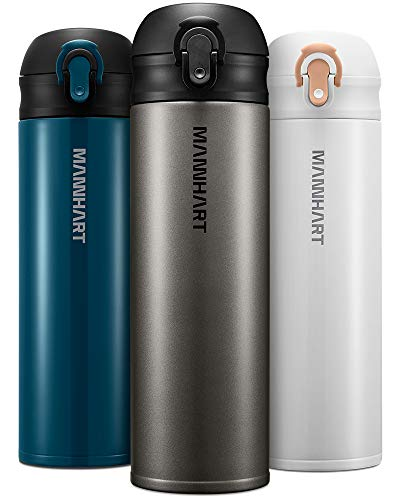 Mannhart 748oz 212g Light Sipper One Touch Easy Open 17 floz Travel Mug Super Light Weighted Portable Size Insulated Water Bottle Hot 8H Cold 24H Stainless Steel BPA Free B203 Gunmetal