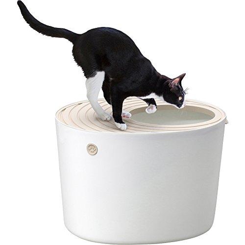 アイリスオーヤマ 猫用トイレ本体 上から猫トイレ (飛び散らない) ホワイト レギュラー