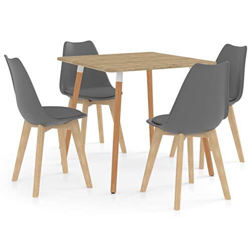 vidaXL Essgruppe 5-TLG. Esszimmergarnitur Esszimmergruppe Tischset Esstischset Sitzgruppe Esszimmertisch Esstisch Küchentisch mit 4 Stühlen Grau