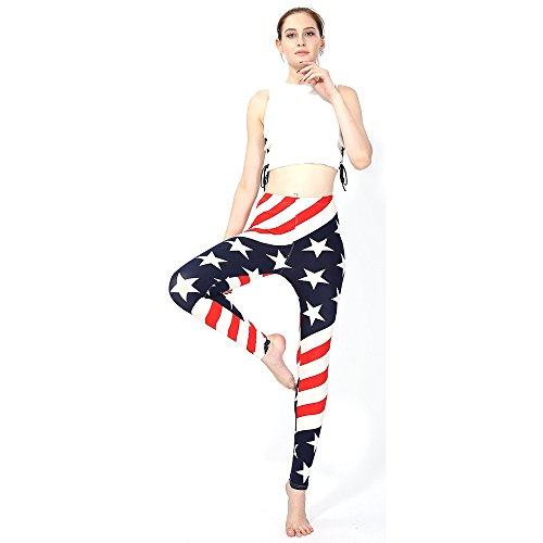 HARRYSTORE Mujer Pantalones Deporte Leggins Estampado Bandera De Estrellas Yoga Gym Work Out Pants (A)