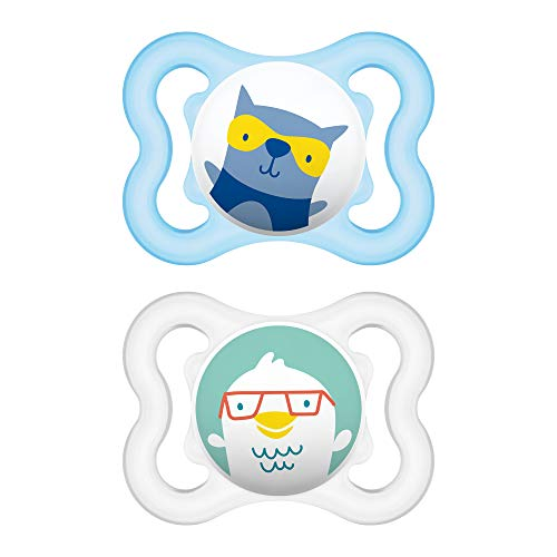 MAM Mini Air Pacifiers (2 pack), MAM Sensitive Skin Pacifier 0-6 Months, Best Pacifier for Breastfed Babies, Boy Pacifiers, Blue and Gray