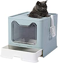 GENENIC Large Foldable Cat Litter Box Pan with Lid, Cat Potty ,Top Entry Type Anti-Splashing Cat Supplies with Pet Plastic Scoop(Blue)
