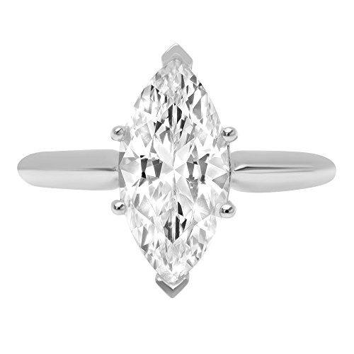 14k White Gold 2.47cttw Classic Marquise Solitaire Moissanite Engagement Promise Ideal VVS1 6-Prong Ring Statement Anniversary Bridal Wedding Size 4.5