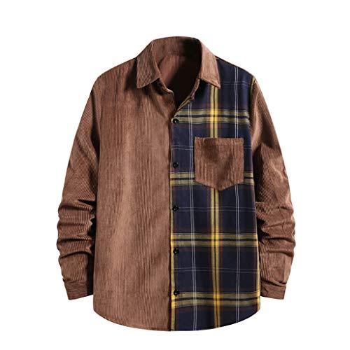 Yowablo Herren Winterjacke Mantel Männer Jacke warme Winter Trenchcoat Lange Outwear Jacke T-Shirt Mode Cord Shirt Button Top Langarm Casual Shirt (XXL,2Braun)