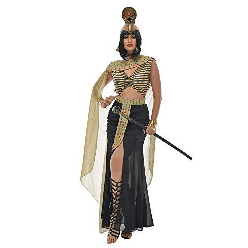 WXFASHION Equipo de Fiesta-Sexy Cleopatra Cosplay Reina de Egipto Vestido de Lujo Disfraz de Halloween para Mujeres Adulto Retro (Color : A, Size : M)