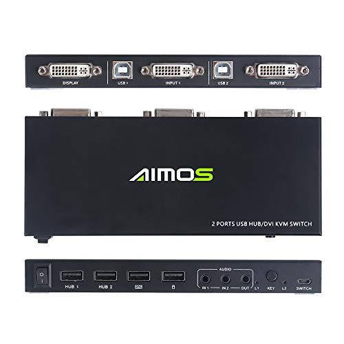 DVI KVM Switch, KVM Umschalter Support HD 1920 * 1200P@60Hz(4K*2K@30z) nterstützt Windows 2000/XP/Vista, Linux und Mac Für PC Monitor Tastatur Maus
