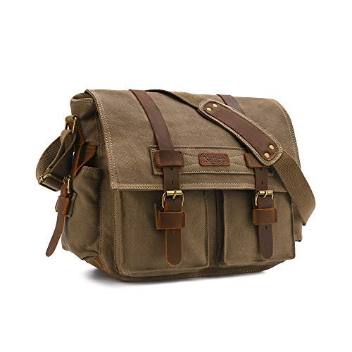 Camera Bag Canon RUN ANT Vintage Waterproof Canvas Camera Bag DSLR SLR Shockproof Camera Shoulder Messenger Bag Camera Case Small Camera Bag for Nikon Sony 7 x 5.9 x 9 Inches/