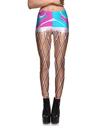 Leggings De Mujer Medias De De Especial Estilo Estiramiento Yoga Estiramiento Graffiti Yoga Estiramiento Elástico Lápiz Pantalones Pantalones Deportivos (Color : Blau, Size : 4XL)