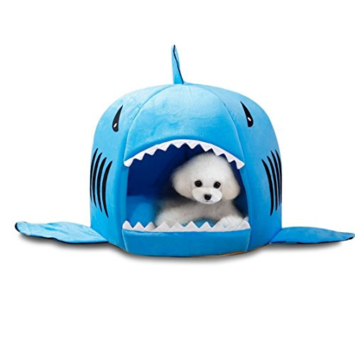 Haustier-warme weiche Schlafsack-Haifisch-Hundezucht-Katze Bed House (L, Blau)