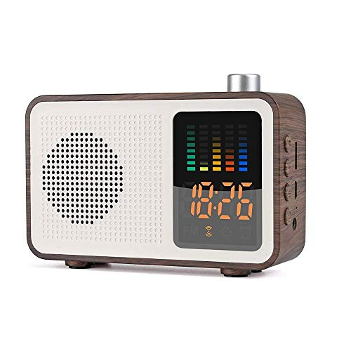 Retro Bluetooth Wireless Speaker,DAB/DAB+ Digital FM Portable Radio/LED Display Alarm Clock/Real Wood Effect Finish/Rechargable Battery/Premium Stereo Sound,Brown