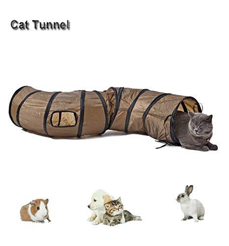 Túnel de 5 vías para gatos con pompones y campanas, interactivo arrugado laberinto desplegable para gatos, conejos pequeños, gatitos, cachorros, hurones, conejillos de indias