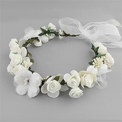 Wandskllss 13 decoraciones navideñas para la temporada de la escuela, boda, mujer, flor, corona para dama de honor, flores de novia, accesorios para el pelo, color blanco, 1 paquete