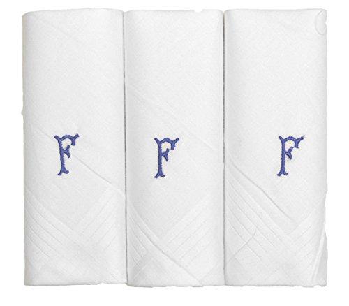 Pack de 3 Mouchoirs Pour Homme Blanc Avec 1 Lettre Initiale du Nom, F