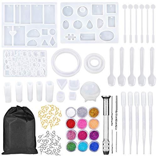 Novsix - Kit di stampi in silicone e strumenti per realizzare gioielli fai da te con ciondoli in resina, con stampi in resina, polvere glitterata e strumenti
