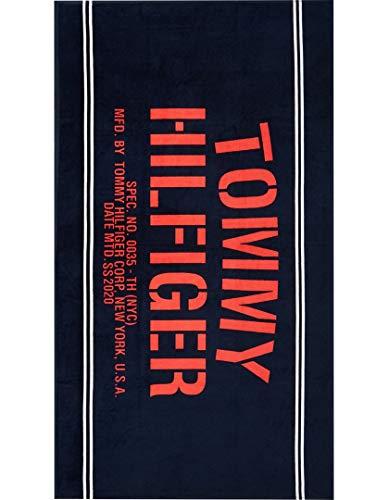 Tommy Hilfiger Handdoek 'Rood en Navy Beach Handdoek'