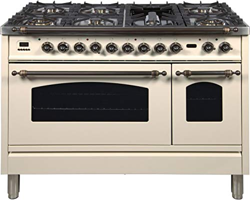 Ilve UPN120FDMPAYLP 48' Nostalgie Series Dual Fuel Liquid Propane Range with 7 Sealed Burners 5 cu. ft. Total Capacity True Convection Oven Griddle with Bronze Trim in Antique White