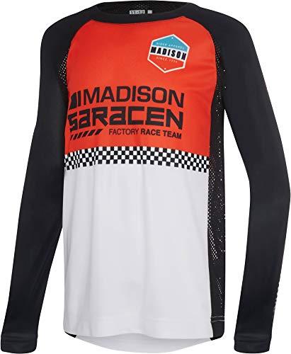 Madison Alpine Youth Long Sleeve Jersey - Red Saracen Factory Race Team, Age 7-8 / LS Tee Shirt Top Cycling Cycle Bicycle Biking Bike MTB Mountain Trail Ride Children Child Boy Girl Kid Junior Wear