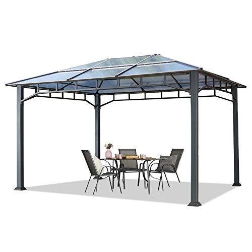 TOOLPORT Gartenpavillon 3x4 m Aluminium Gestänge Polycarbonat Dach ca. 8mm Pavillon Gartenzelt ohne Seitenteile