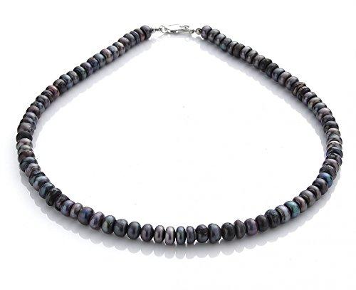 Tribal Spirit Kette Süßwasserperlen Perlenkette rosa dunkelblau schmuckrausch Farbe dunkel blau