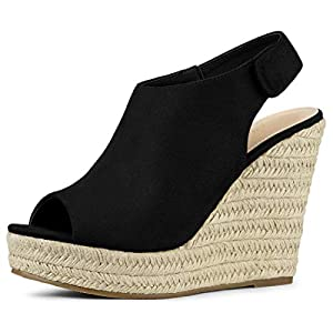 Allegra K Women's Slingback Platform Wedges Heel Black Espadrille Wedge Sandals 5.5 M US