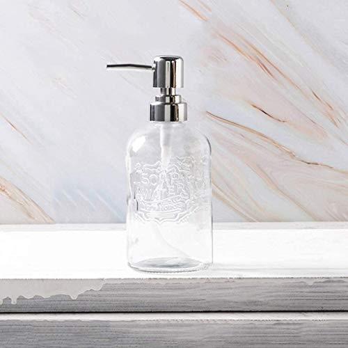 Dispensadores de jabón de encimera de baño, Jabón de la botella de cristal 13,5 Oz dispensador de jabón dispensador de la loción con la bomba de plástico Cabeza dispensador de jabón de baño accesorios