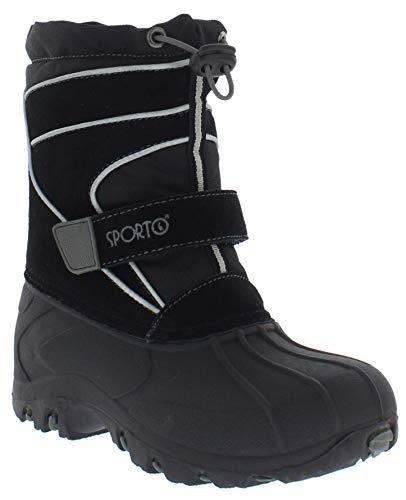 sporto Kids Snow Boots with Dual Closure (Blizzard) All-Weather Insulated Winter Boots Built for Comfort, Durability - Keeps Feet Warm & Dry Black/Grey