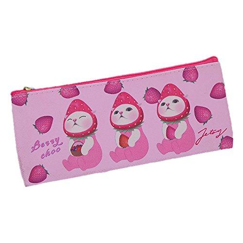 fablcrew Boîte scolaires kawaii en nylon avec fermeture éclair pour garçon et fille boîte à crayons 20*8cm rose
