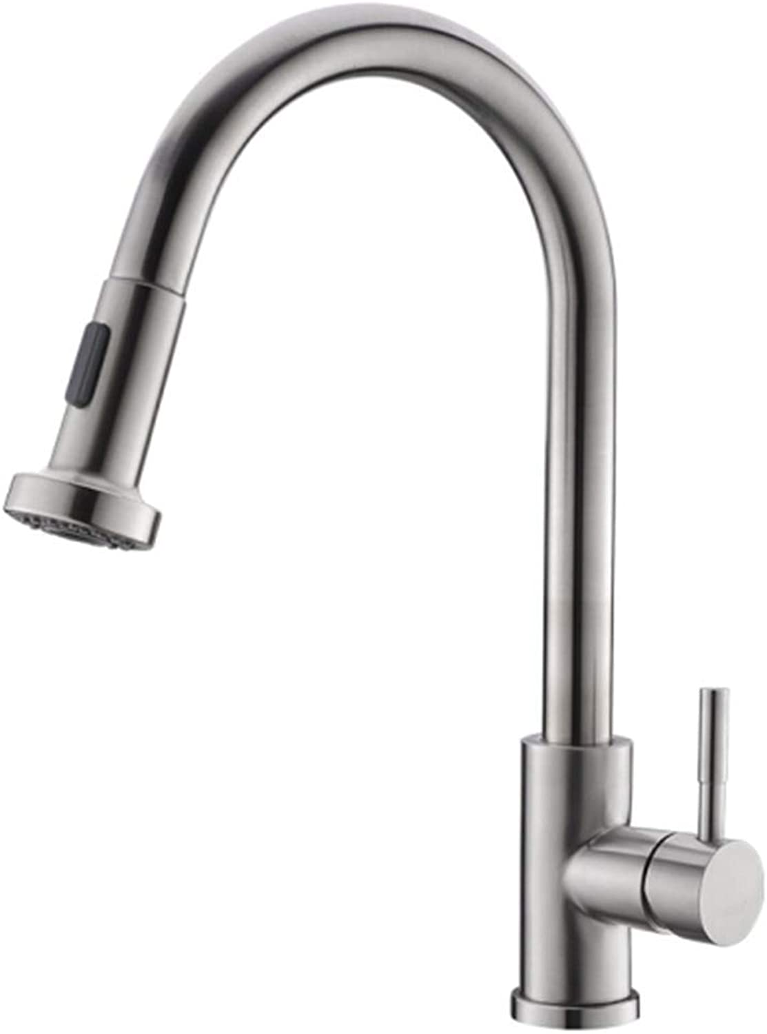 Kitchen Faucet Tapstainless Steelkitchen Faucet Propull Kitchen Faucet, Wash Basin, Hot and Cold Water Faucet 304 Stainless Steel.