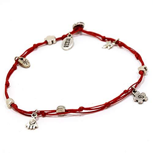 Mizze Made For Luck Jewelry Cavigliera rossa con occhio malvagio e portafortuna