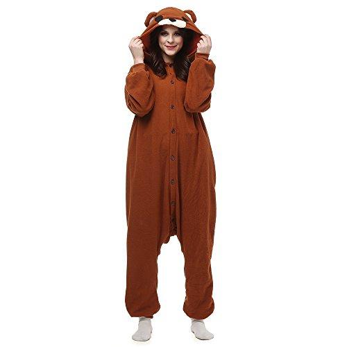 Hstyle Adulte Unisexe Onesies Kigurumi Pyjamas Animal Costumes De Cosplay De Bande Dessin? V?ements De Nuit Ours Brun L