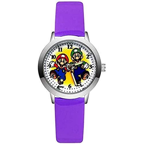 buyaoku Super Mario Reloj Moda Lindo Hermoso Estilo Mario Reloj Estudiante niña niño Reloj de Cuero de Cuarzo