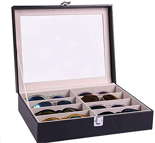 T.T-Q 8 Gafas Caja de presentación de Gafas de Sol Cajas para Relojes Caja de presentación de Gafas de Sol Caja de Almacenamiento Caja de colección Reloj joyero 34 * 24,5 * 8,5 cm