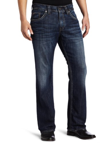 Silver Jeans Co. Men's Zac Relaxed Fit Straight Leg Jeans, Dark Indigo, 34W x 32L