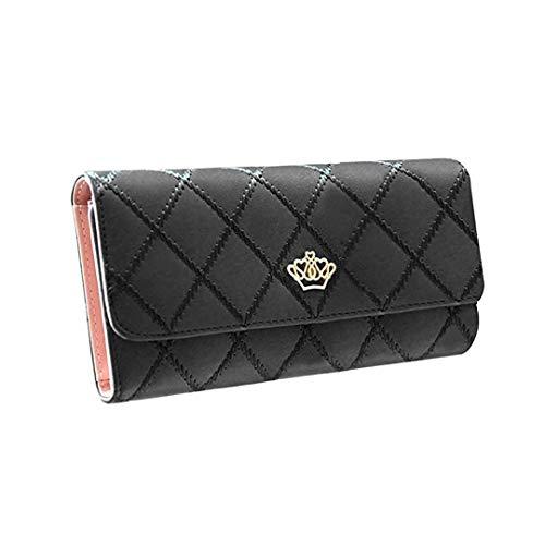 Damen Krone Geldbörse Süß PU Leder Elegant Portemonnaie (Schwarz)