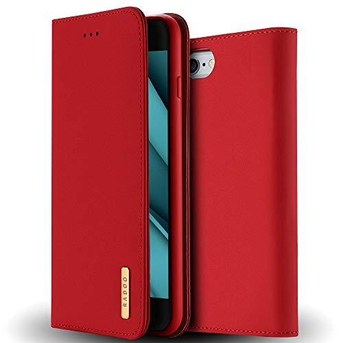 Coque iPhone 6S PLus en Cuir Véritable,Etui iPhone 6 Plus,Radoo Housse Premium Fine en Cuir Véritable avec Fermeture Magnétique & Fonction Stand & Rangements Cartes pour Apple iPhone 6S/6 Plus (Rouge)
