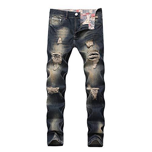 Jeans Jeanshosen Hip Hop Patch Herren Retro Jeans Knie Rap Loch Reißverschluss Biker Jeans Herren Loose Slim Destroyed Torn Ripped Denim Her