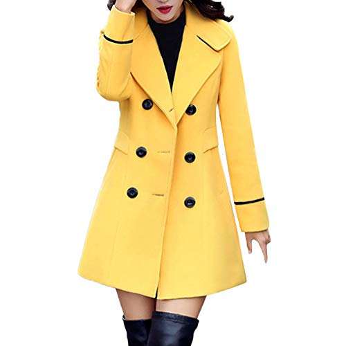 POTO Women Coats Ladies Double Breasted Pea Coat Elegant Winter Lapel Wool Coat Trench Jacket Overcoat Outwear Yellow