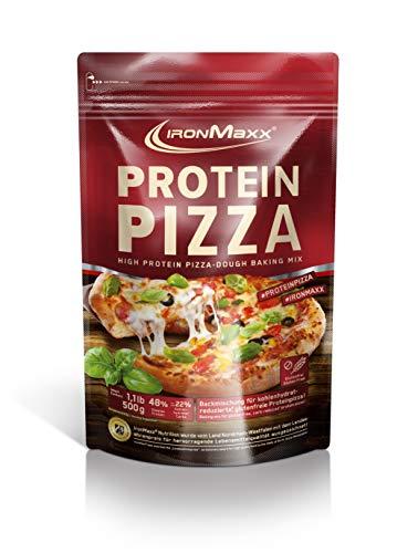 IronMaxx Protein Pizza - 500g - 5 Portionen - High Protein Backmichung für Pizza, Flammkuchen, Chips - 48% Protein - Proteine tragen zu einer Zunahme an Muskelmasse bei - Designed in Germany
