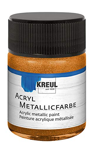 Kreul 77583 - Acryl Metallicfarbe, 50 ml Glas in goldbronze, glamouröse Acrylfarbe mit Metalliceffekt auf Wasserbasis, cremig deckend, schnelltrocknend und wasserfest