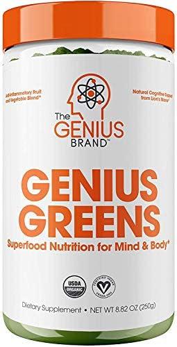 Genius Super Greens Powder Nootropic Supplement Organic Spirulina Powder w Lions Mane Kale and product image