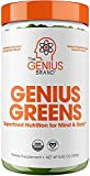 Genius Super Greens Powder Nootropic Supplement - Organic Spirulina Powder w/ Lions Mane, Kale, and Antioxidants   Amazing Green Superfood Juice & Smoothie Mix For Energy, Immunity Booster, & Vibrance
