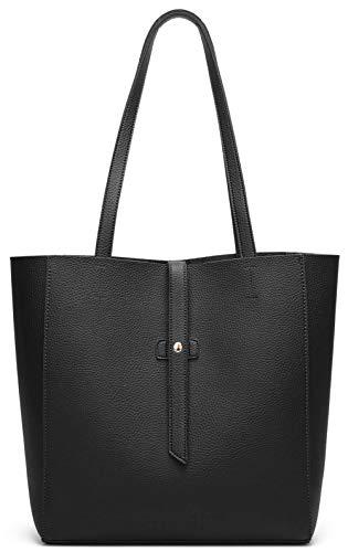 Dreubea Women's Large Tote Shoulder Handbag Soft Leather Satchel Bag Hobo Purse Black