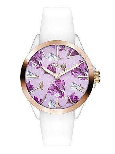 s.Oliver Damen Analog Quarz Uhr mit Silikon Armband SO-3511-PQ