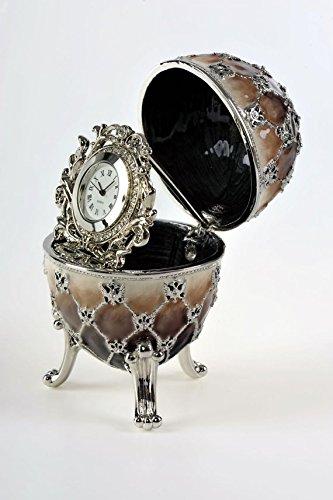 Hellbraun Musikspieluhr Fabergé-Ei, Silber, mit Uhr, in Schmuckkästchen