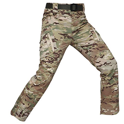 Camouflage Tactical Pants Men Rip-Stop Waterproof Military Pants Army Combat Cargo Pants Pockets Camo Trousers CP S